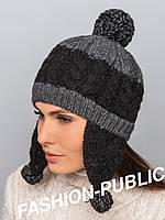 Женская вязанная шапка двухцветная
