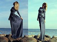 Женское длинное платье горох.