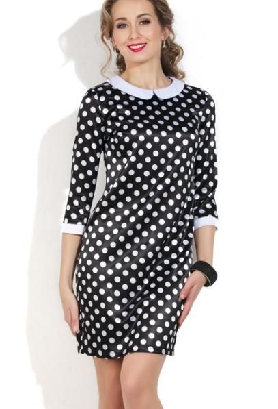 Женское ретро платье в горох с воротником.