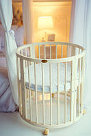 Овальная деревянная кроватка трансформер 7 в 1 от 0 до 10 лет цвет слоновая кость