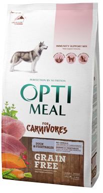 Беззерновой корм для собак с уткой и овощами OptiMeal For Carnivores