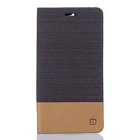 Чехол книжка для Doogee F5 боковой с отсеком для визиток, Double color, темно-коричневый
