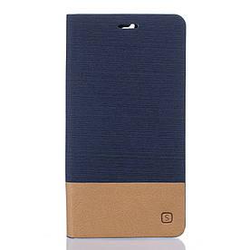 Чехол книжка для Doogee F5 боковой с отсеком для визиток, Double color, темно-синий