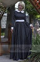 Женское платье  в горох с белым воротником и поясом., фото 2