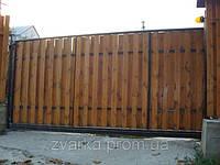 Ворота откатные (сдвижные, раздвижные) автоматические (дерево)