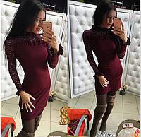 Красивое бордовое короткое платье, рукава и плечи из гипюра. Арт-9574/30