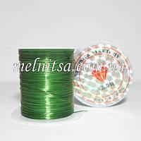 Нить силиконовая плоская, (слоенка), 0,8мм, цвет зеленый