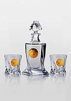 Набор для виски Quadro Edem золото (2+1)