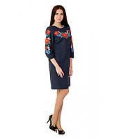 """Платье вышитое крестиком темно-синее """"Маки с барвинком"""" М-1027, фото 1"""
