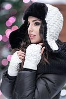 Женская вязанная шапка ушанка с варежками ( митенками).
