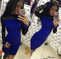 Красивое  короткое платье, рукава и плечи из гипюра, цвет электрик. Арт-9574/30