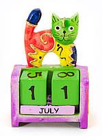 Календарь настольный дерево Кот Индонезия