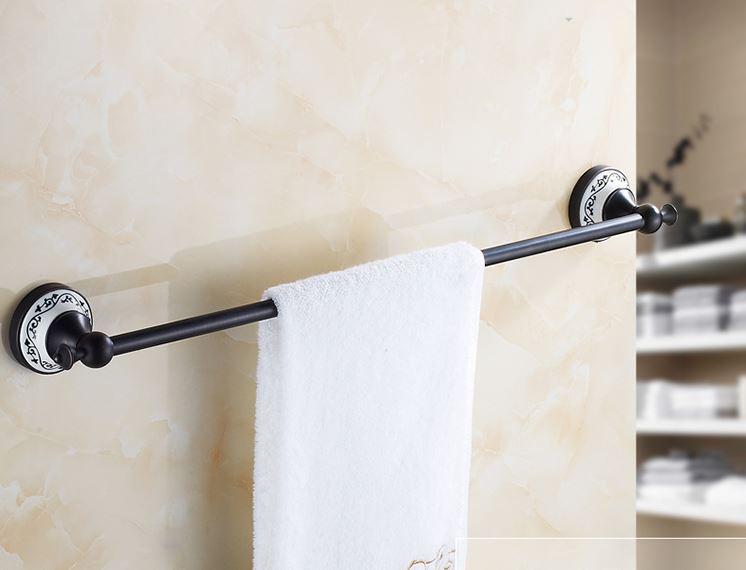 Вешалка для полотенец черная на кухню или в ванную комнату настенная