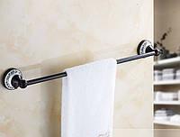 Вешалка для полотенец черная на кухню или в ванную комнату настенная, фото 1