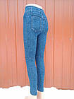 Бесшовные лосины - леггинсы под джинсы  внутри мех Ласточка A428  бамбук синие джеггинсы  ЛЖЗ-12177, фото 3