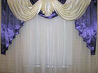 Ламбрекен из атласа Модель №40 Цвет фиолетовый