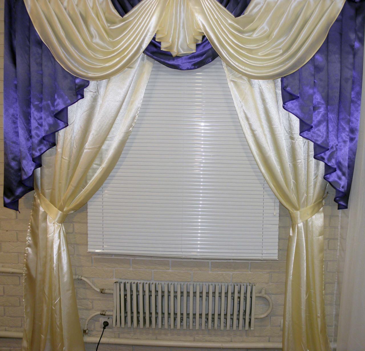 Комплект: ламбрекен и шторы из атласа Модель №40 Цвет фиолетовый