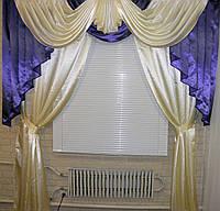 Комплект: ламбрекен и шторы из атласа Модель №40 Цвет фиолетовый, фото 1