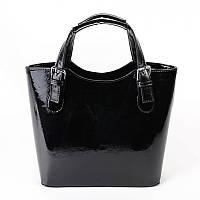 Черная женская сумка-корзина М115-лак/Z лаковая, фото 1