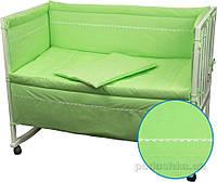 Спальный комплект для детской кроватки Руно Весёлый горошек салатовый