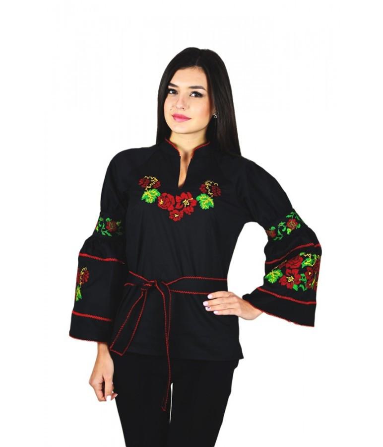 """Вышитая  женская рубашка черная """"Красные розы"""" М-220"""