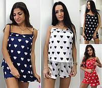 Атласная женская пижама мод.678 сердце (р.S-L)