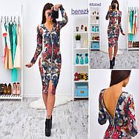 Женское модное платье с цветочным принтом на молнии