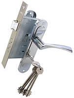 Комплект BRUNO 7055 (ручка на планке + сувальдный замок 969-55 + 5кл) хром