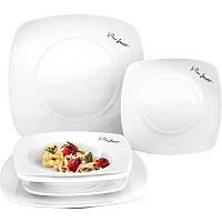 Комплект белых обеденных тарелок lamart lt9002 керамических квадратных 6 штук