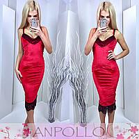 Платье красное удлиненное бархат с кружевом 11833