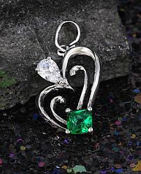 Кулон родій, серце з зеленим цирконієм, позолочена біжутерія Xuping