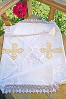 Атласная крыжма для младенца №4 с вышивкой и кружевом (крестильное полотенце, атлас/махра, 90х90) ТМ Глаздов Золото