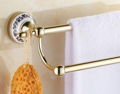 Вешалка для полотенец золото настенная для ванной или на кухню