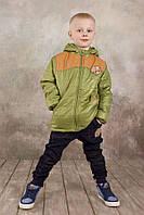 """Демисезонная утепленная куртка """"Спорт"""" для мальчика 5-8 лет р. 110-128 ТМ Модный карапуз Зеленый 03-00565-1"""