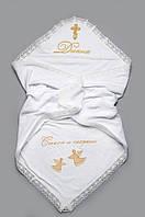 Детская крыжма (крестильное полотенце) махровая с именной вышивкой 95х95 ТМ Веселый карапуз Золото