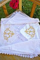 Детская крыжма для крещения №3 с вышивкой и кружевом (крестильное полотенце, атлас/махра, 90х90) ТМ Глаздов Золото