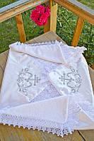 Детская крыжма для крещения №3 с вышивкой и кружевом (крестильное полотенце, атлас/махра, 90х90) ТМ Глаздов Серебро