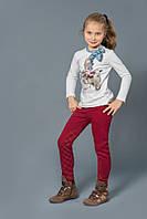 Детские ультрамодные брюки-скинни из хлопка для девочки 3-7 лет ТМ Модный Карапуз Бордовый