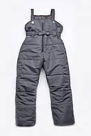 Детские утепленные штаны с водо/ветрозащитой для девочки 4-5 лет (зимний полукомбинезон) Модный карапуз Серый