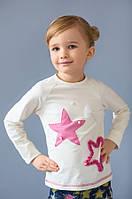 """Детский реглан (кофта) """"Звезды"""" для девочки 3-8 лет с декором ручной работы (р. 98-128) ТМ Модный карапуз Молоко/розовый"""
