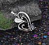Кулон Сердце с черно-белым цирконием, родированный, фото 3