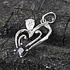 Кулон Сердце с черно-белым цирконием, родированный, фото 4