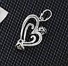 Кулон Сердце с черно-белым цирконием, родированный, фото 6