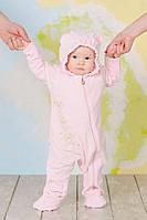 """Детский слингокомбинезон из велюра """"My baby"""" для младенца (велюровый комбинезон р 68-74) Модный карапуз Розовый"""