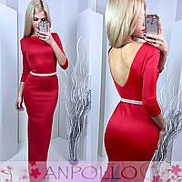 Платье в пол цвет красный 11837