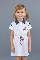 """Детское летнее платье из лакосты с кантиком и вышивкой для девочки 3-7 лет ТМ """"Модный карапуз"""" Белое"""
