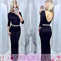Платье в пол цвет черный 11838