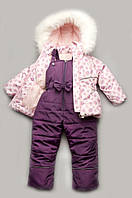 """Зимний детский комплект """"Bubble pink"""" для девочки 1-4 лет (полукомбинезон+куртка) Модный карапуз"""