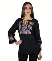 Вышитая женская рубашка черная «Летняя ночь» М-226-3