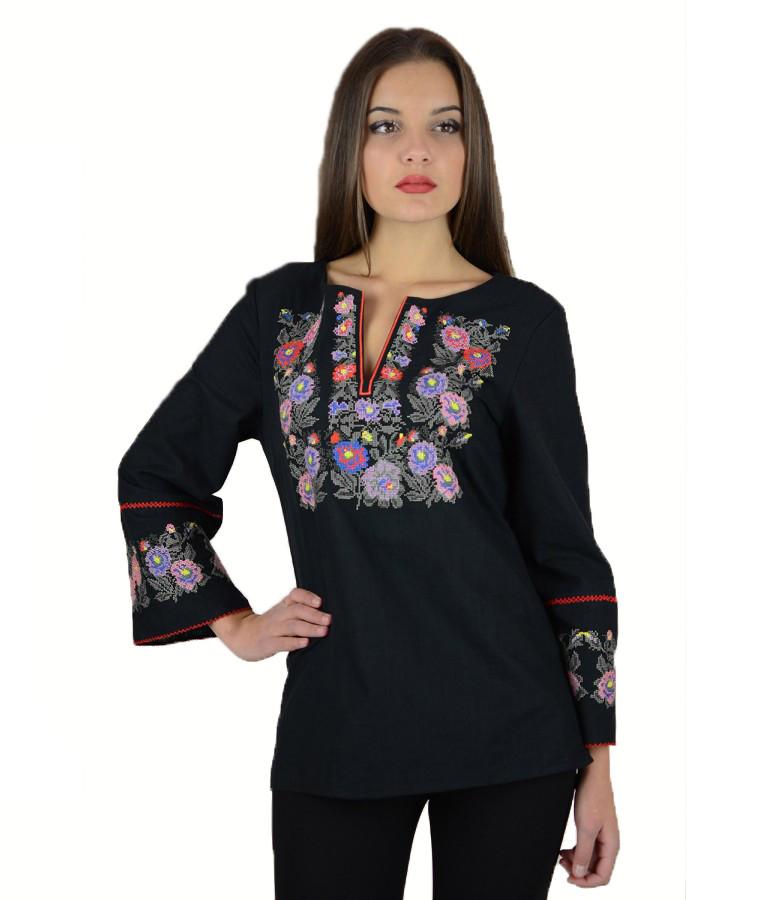 Вышитая женская рубашка черная «Летняя ночь» М-226-3 40